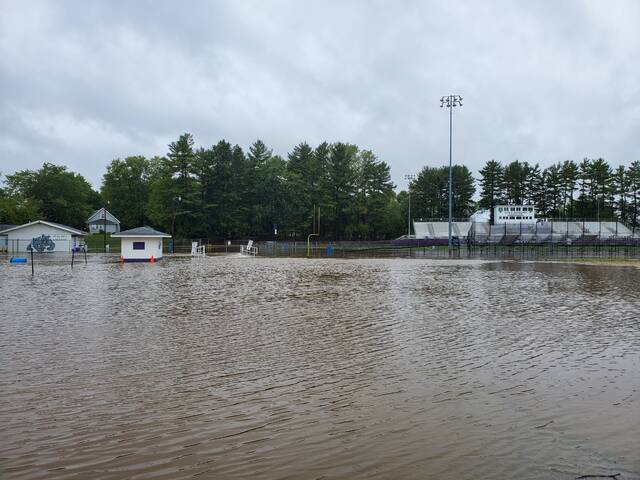 The Hansbarger Stadium area is flooded Thursday afternoon.