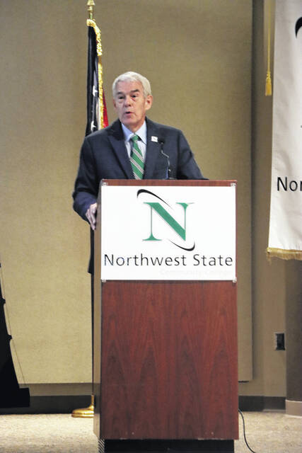 """Chancellor Randy Gardner from the Ohio Department of Higher Education shared his """"State of Higher Education"""" presentation on Sept. 30."""