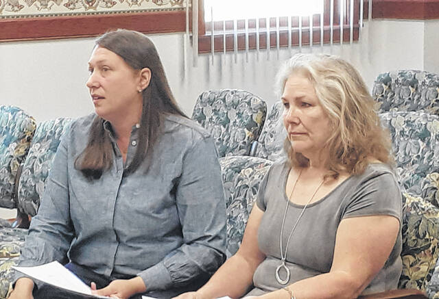 Fulton County Humane Society CEO Dr. Jessica Miller, left, and Chairman of the Board Rose Sorge, attended a county commissioners meeting asking for guidance and continued financial support.