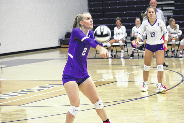 Brie Williams with a dig for Swanton on Saturday during a match with Ottawa Hills. The Bulldogs swept the Green Bears 25-16, 25-11, 25-20.