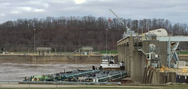 Tow boat and barges stuck at Racine Locks - The Point Pleasant