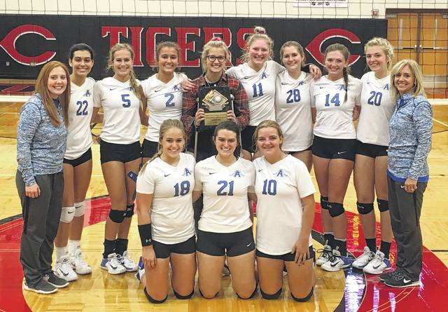Members of the Gallia Academy volleyball team pose for a picture after winning the Circleville Tournament on Saturday. Kneeling in the front row, from left, are Katie Carpenter, Taylor Burnette and Ryelee Sipple. Standing in the back row are assistant coach Kaci Cooke, Maddie Wright, Alex Barnes, Peri Martin, Grace Martin, Ashton Webb, Aubrey Unroe, Hunter Copley, Maddy Petro and head coach Janice Rosier.