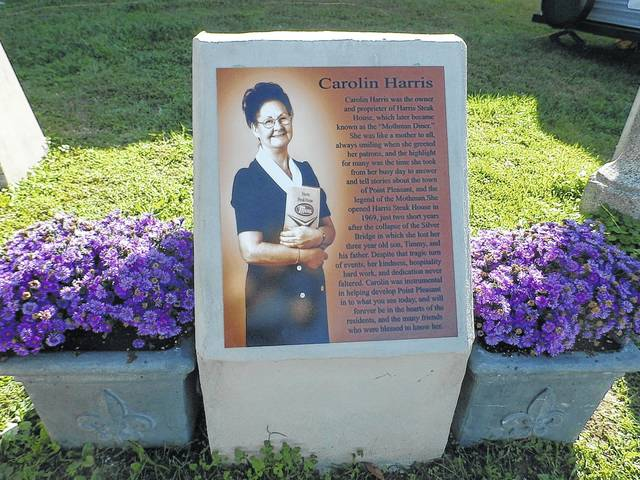 This memorial to Carolin Harris was unveiled at Riverfront Park to open the Mothman Festival, dedicated to her memory.