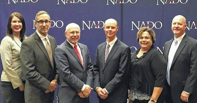 NADO Officers serve as Executive Directors of Regional Development Organizations around the nation and are shown from left: Lynne Keller Forbes (South Eastern Council of Governments (COG), Sioux Falls, S.D.) Immediate Past President; Doug Elliott (East Central Iowa COG, Cedar Rapids, Iowa), President; Scott Koons (North Central Florida RPC, Gainesville, Fla.), First Vice-Pres.; Kevin Byrd (New River Valley Reg. Commission, Radford, Va.), Second Vice-Pres.; Misty Casto (Buckeye Hills Regional Council, Marietta, Ohio), Treasurer; and Chris Fetzer (Northern Arizona COG, Flagstaff, Ariz.), Secretary.