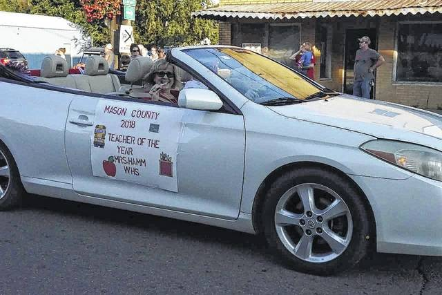 """Mason County's """"Teacher of the Year"""" Catherine Hamm took part in this year's homecoming parade. She is a teacher at Wahama."""