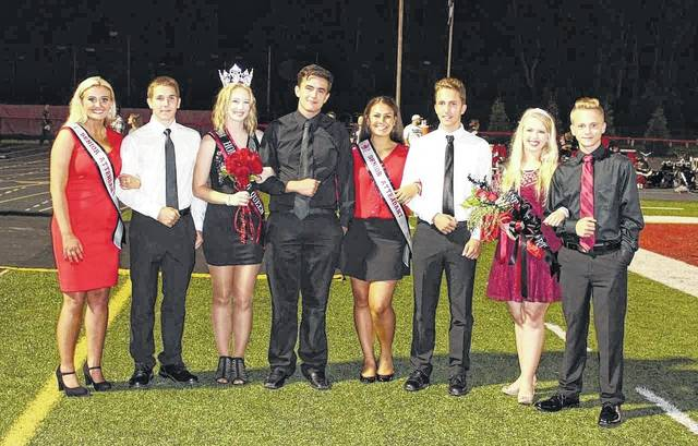Cierra Porter, third from left, was crowned the 2017 PPHS Homecoming Queen on Friday. Porter is pictured here with her court, including, far left, Senior Attendant Khloie Billings with escort Justin Staats, Porter's escort Brett McCoy, Senior Attendant Lila Beattie with escort Jacob Hussell and Band Sweetheart Ashlea Woomer with escort Nick Newell.