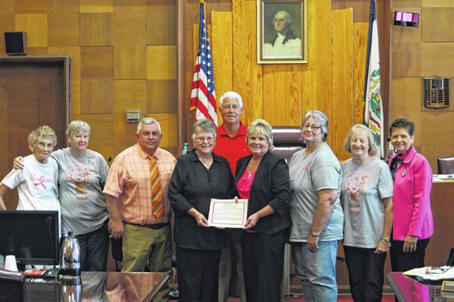 Mason County CEOS Members made a proclamation at the County Commissioners meeting last Thursday. The proclamation made October Breast Cancer Awareness Month in Mason County. From left: Marylin Higginbotham. Anne Byus, Sam Nibert, Clinedda Austin, Rick Handley, Tracy Doolittle, Sherry Mayes, Yvonne Fetty, and Diana Cromley.