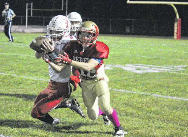 South Gallia's Jacob Birtcher (12) battles Wahama's Bryton Grate (3) for possession of a reception during Friday night's Tri-Valley Conference Hocking Division football game in Mercerville, Ohio.