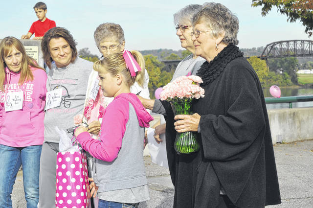 """Walkers participate in the annual """"Walk for Women"""" on Saturday at Riverfront Park."""