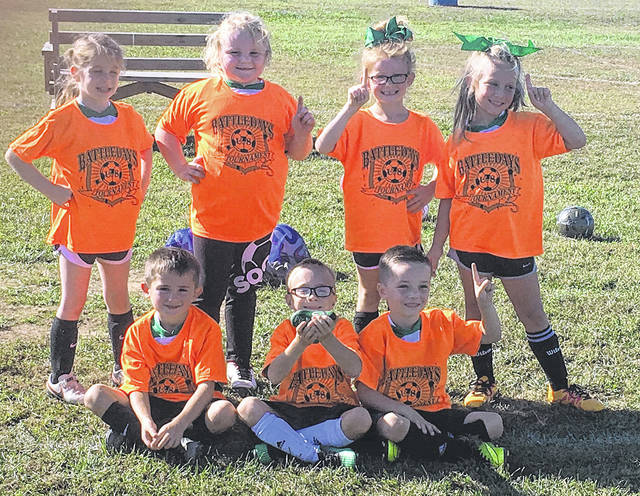 Point Pleasant's own Mighty Pickles soccer team won the Under-8 Battle Days Soccer Tournament held Oct. 6-8 in Point Pleasant, which was sponsored by Tyler Courts of State Farm Agency. Sitting in front for the Mighty Pickles are, from left, Carter Rumley, Ethan Lovejoy and Easton Courts. Standing in back are Olivia Ott, MacKayla Billings, Lola Tolliver and Berklee Bonecutter.