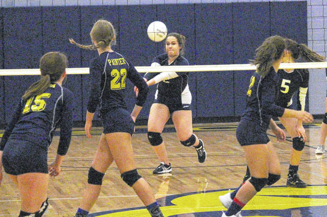 Hannan's Josie McCoy (2) returns a serve during the Lady Wildcats' volleyball match against Buffalo on Thursday night in Buffalo, W.Va.