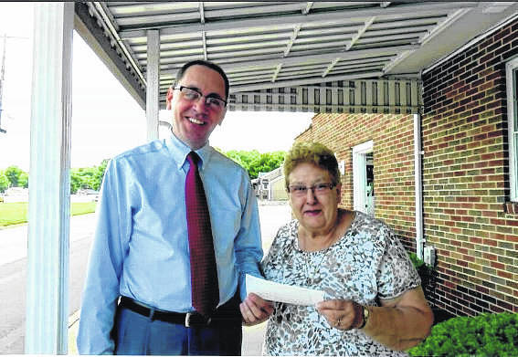 Wilcoxen Funeral home recently made a donation to the Point Pleasant Battle Days Committee. Battle Days will take place this Friday-Sunday at Tu-Endie-Wei State Park. Pictured are Richard Green from Wilcoxen and Darlene Haer, treasurer of the Battle Days Committee.