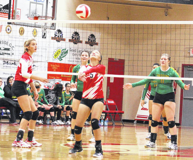 Wahama sophomore Gracie VanMeter (5) bumps a ball in the air during Game 2 of Tuesday night's TVC Hocking volleyball contest against Eastern at Gary Clark Court in Mason, W.Va.