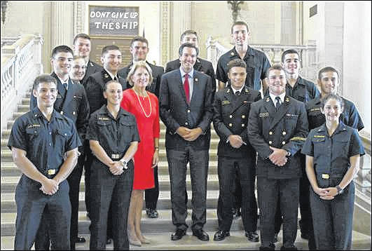 Rep. Jenkins and Senator Shelley Moore Capito with midshipmen from West Virginia.