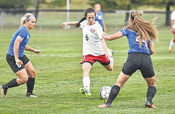 Rio Grande's Daniella DeSousa takes aim at what would be her second goal of the game in Thursday night's triumph over Ohio Christian.