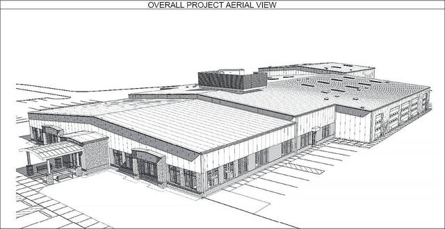 An aerial view shows the planned AEP Ohio Pomeroy Service Center which is under construction along State Route 7 near Eastern High School.