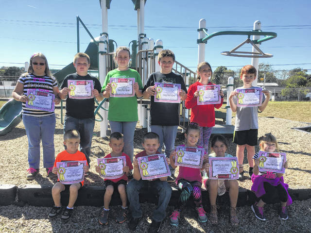 Pictured are the Beale September Students of the Month. The character trait was for responsibility. Pictured, not in any particular order, are: Coen Durst, Clay Elam, Riley Dumas, Lilly Bryant, Riley Waugh, Loren Buttrick, Kendall Holley, Scottie Snead, Rebecca Patterson, Brycen Gillispie, Aubrey Hudson, and Haley Wymer. Absent were: Rixon McCoy, Anna Neal, and Gigi Curry.