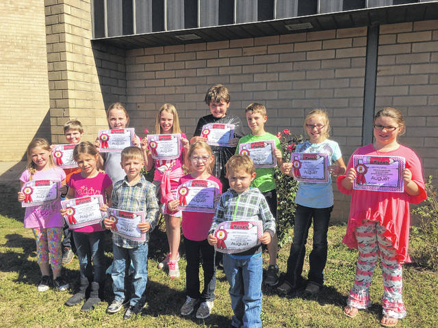 Beale Students of the Month for August for the character trait of kindness were: Will Hickman, Caleb Bonecutter, Elizabeth Milhoan, Jazmin Triplett, Serenity Putney, Andy Leport, Nevaeh Warden, Riley Davis, Shayla Smith, Cole Hatfield, Aubrey Supple, and Chris Russell. Not pictured: Averi Taylor, Ryder McCoy, and Wes Smith.