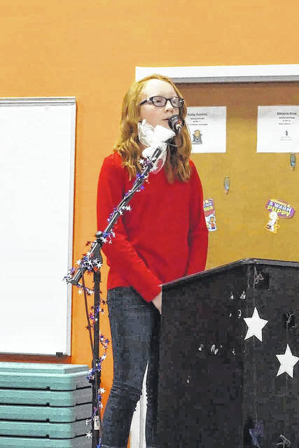 Olivia Jeffers had a solo performance during the New Haven Elementary School Veterans Day program.
