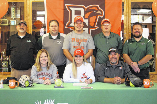 On Thursday at Eastern High School, senior Sidney Cook signed her National Letter of Intent to join the Bowling Green State University softball team. Sitting in the front row, from left, are Lynne Cook, Sidney Cook and Keith Cook. Standing in the back row are Lady Eagles assistant coach D.J. Maxon, EHS Principal Shawn Bush, Chase Cook, Lady Eagles head coach Bryan Durst and Eastern Athletic Director Joshua Mummey.