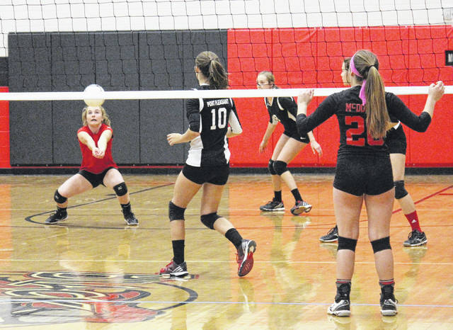 Point Pleasant libero Peyton Jordan returns a Nitro serve as teammate Olivia Dotson (10) looks on during Tuesday night's Class AA sectional tournament volleyball match in Point Pleasant, W.Va.