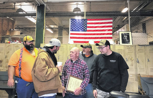 """Virgil """"Duke"""" Willet, at center, says goodbye to coworkers on Wednesday. It's believed he worked for the City of Point Pleasant longer than any other employee."""