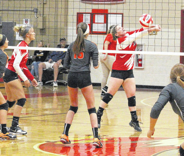 Wahama senior Madison VanMeter bumps a ball in the air during a Sept. 11 TVC Hocking volleyball contest against Belpre at Gary Clark Court in Mason, W.Va.
