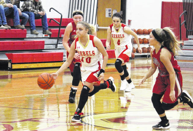 South Gallia senior Aaliyah Howell (10) leads a fast break, during the Lady Rebels' 56-51 loss to Symmes Valley on Tuesday in Mercerville, Ohio.