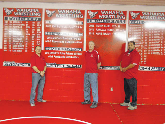 Ryan Russell, Lee Herdman, and Phil Serevicz standing in front of state qualifying decals