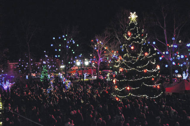 Moments after the Christmas lights came on in City Park on Wednesday evening.