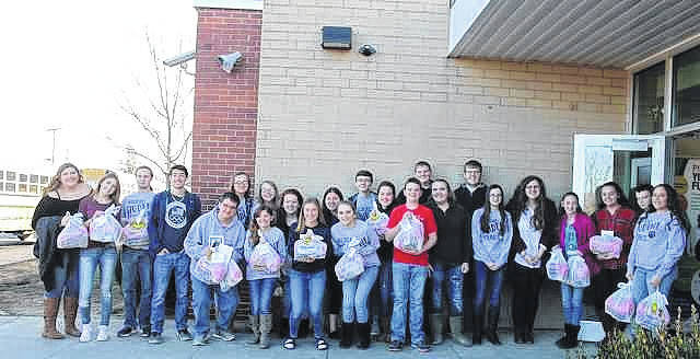 "Pictured are students from Hannan Jr. / Sr. High School. The school recently started a ""Spread the Love"" program aimed at combating hunger in local communities."