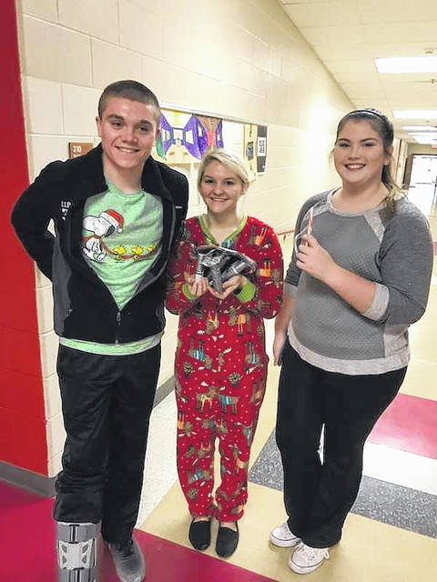 Jacob Lloyd, Kenzie Warth, and Lauren Fields, from left, were the high school winners in a fun STEM activity, held by the math department at Wahama High School on the final day of classes before Christmas break. They are students in the AP Calculus class. Math 7 winning students were Hailey Darst, Alex Phillips and Alyssa VanMeter.