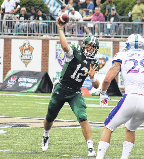 Ohio sophomore Nathan Rourke (12) releases a pass during the Bobcats' win over Kansas on Sept. 16 in Athens, Ohio.