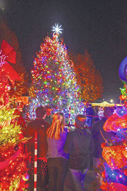 The official Christmas tree for the City of Point Pleasant moments after it was lit in Gunn Park.