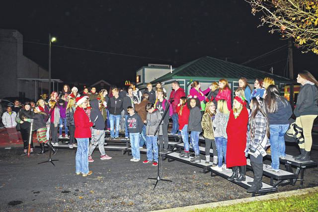 Point Pleasant Junior High and High School Choir performing at the annual tree lighting ceremony.