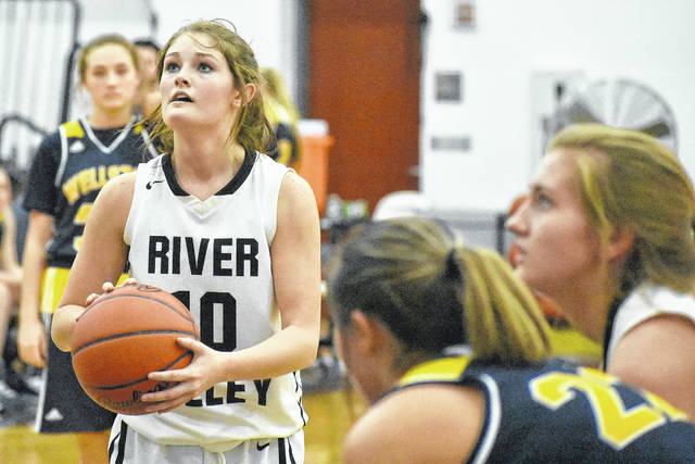 River Valley senior Jaden Neal prepares to attempt a free throw during the fourth quarter of Thursday night's Tri-Valley Conference contest versus Wellston in Bidwell, Ohio.