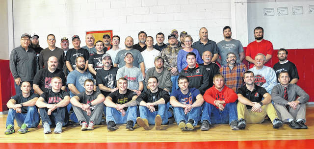 A group photo of the returnees that came out for the 2018 Alumni Dual held Thursday night against Athens at The Dungeon in Point Pleasant, W.Va.
