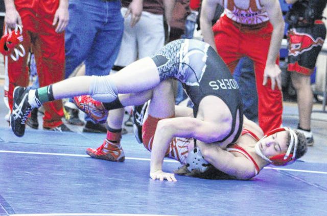 Wahama junior Ethan VanMatre rolls over a River Valley opponent during a 120-pound match at the 2017 Skyline Bowling Invitational held on Dec. 30, 2017, at Gallia Academy High School in Centenary, Ohio.