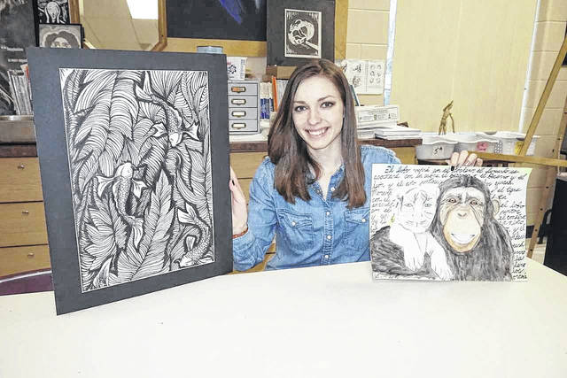 Camryn Tyree, a student at Wahama High School, recently won the Grade 11 Ohio River Sweep Poster Contest. Her artwork was chosen from more than 800 entries over a six-state area. She is pictured with other recent artworks she completed.