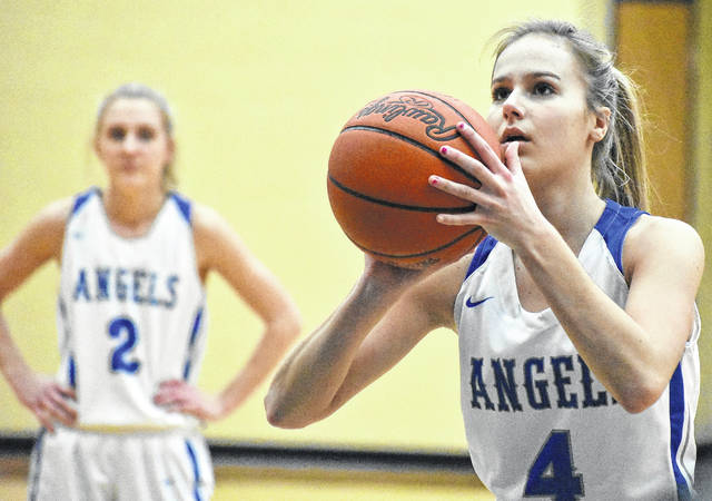 Gallia Academy sophomore Alex Barnes (4) attempts a free throw during the second half of the Blue Angels' 52-35 loss to South Point on Monday in Centenary, Ohio.
