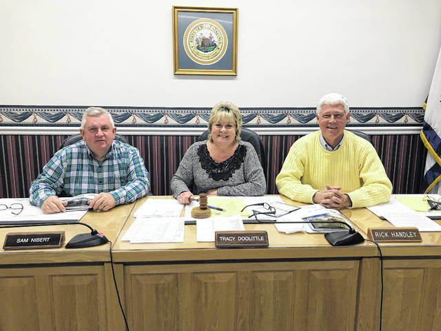 Tracy Doolittle, at center, was reappointed to the position of Mason County Commission president on Tuesday. Also pictured, Commissioners Sam Nibert and Rick Handley.