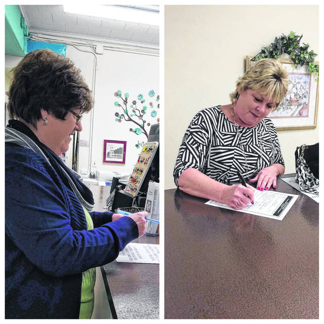 Circuit Clerk Suzi Caldwell, at left, is the first to file her paperwork to run as a candidate in the May Primary. Followed by Caldwell, was Commission President Tracy Doolittle, at right, who filed to seek reelection. Both are pictured making it official at the Mason County Clerk's Office on Monday, the first day of candidate filing.