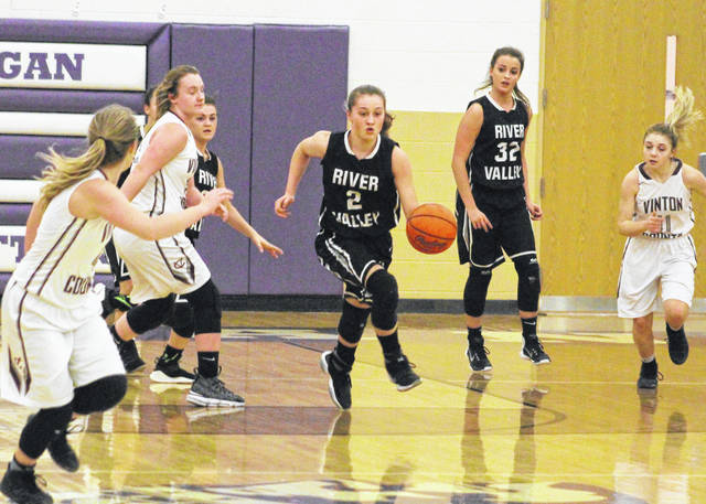 River Valley freshman Hannah Jacks (2) leads a fast break attempt during the first half of Wednesday night's Division II sectional semifinal game against Vinton County at Jim Myers Gymnasium on the campus of Logan High School in Logan, Ohio.
