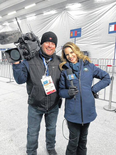 Jeff Hopson, of Hilliard, Ohio and formerly of Point Pleasant, W.Va., pictured with Natalie Morales with NBC News at the Winter Olympics in PyeongChang, South Korea.