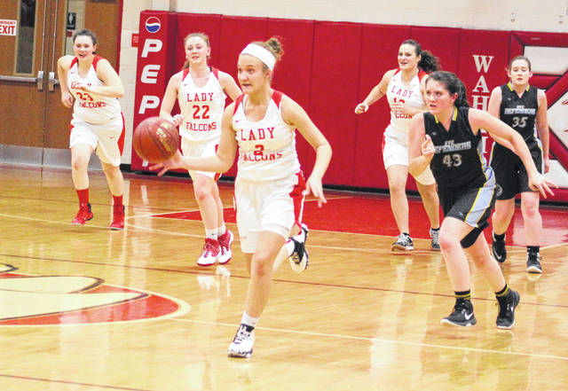 Wahama sophomore Gracie VanMeter (5) leads a fast break during the second half of Thursday night's girls basketball game against Ohio Valley Christian at Gary Clark Court in Mason, W.Va.