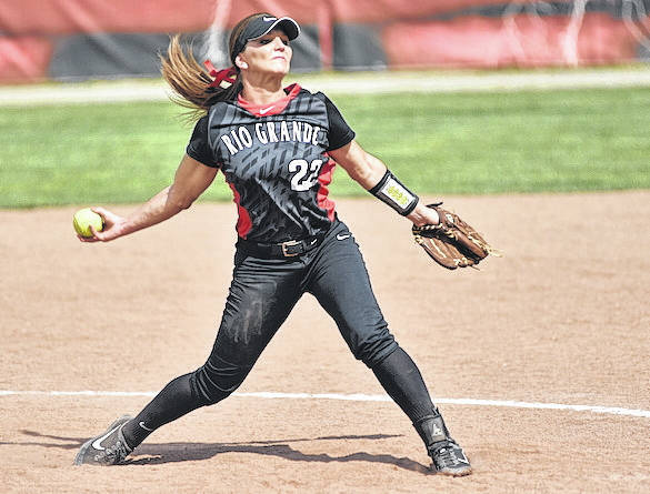 Rio Grande's Kelsey Conkey tossed a complete game three-hitter in Saturday night's 2-1 come-from-behind win over previously-unbeaten Thomas University.