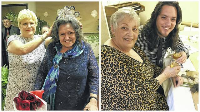 Pictured are scenes from the 2017 Twin Rivers Prom, one of many events planned for residents throughout the year. At right, Jodi German with grandson Dakota Jeffers at last year's prom; pictured at left, prom organizer Vada Nutter helps crown 207 Prom Queen Linda Smith. Nutter helps plan several events at the towers including an upcoming Valentine's Dance.