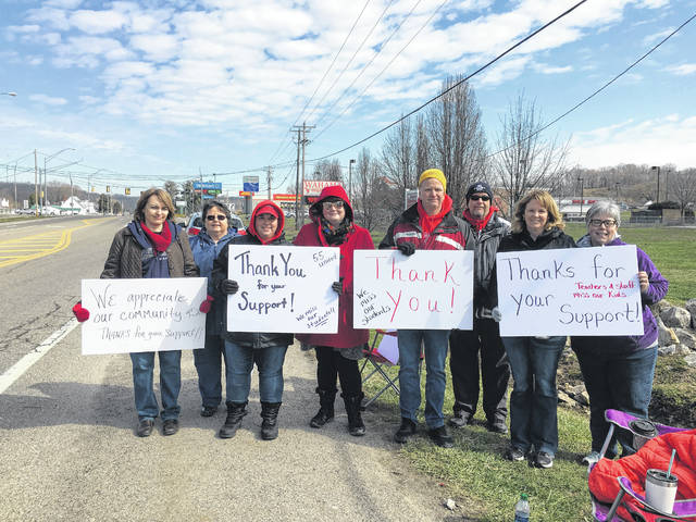 On Tuesday, Wahama Jr./Sr. High School staff show gratitude for the support they received throughout the work stoppage.