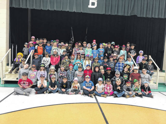 "Beale Elementary students participate in ""hat day"" on Tuesday for reading week."