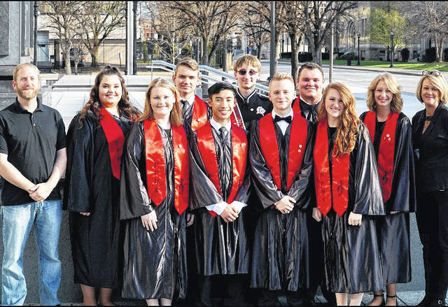 The students pictured in the front row are Katie Moody, Bryce Tayengco, Nick Newell, Gracie Cottrill; pictured in the second row are PPHS Band Director Ben Loudin, Salem Russell, Matthew Smith, Seth Fishbaugh, Jacob Shull, Cierra Porter, and PPJ/SHS Choir Director Crystal Hendricks.